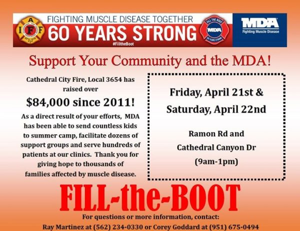 "Cathedral City Firefighters Association to Support the M.D.A. During Its Annual ""Fill the Boot"" Charity Drive – April 21st and 22nd"