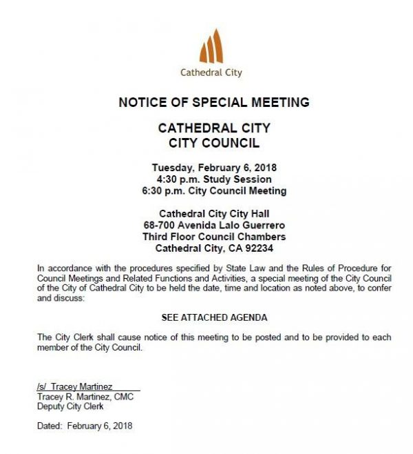 Special City Council Meeting – Tuesday, February 6th