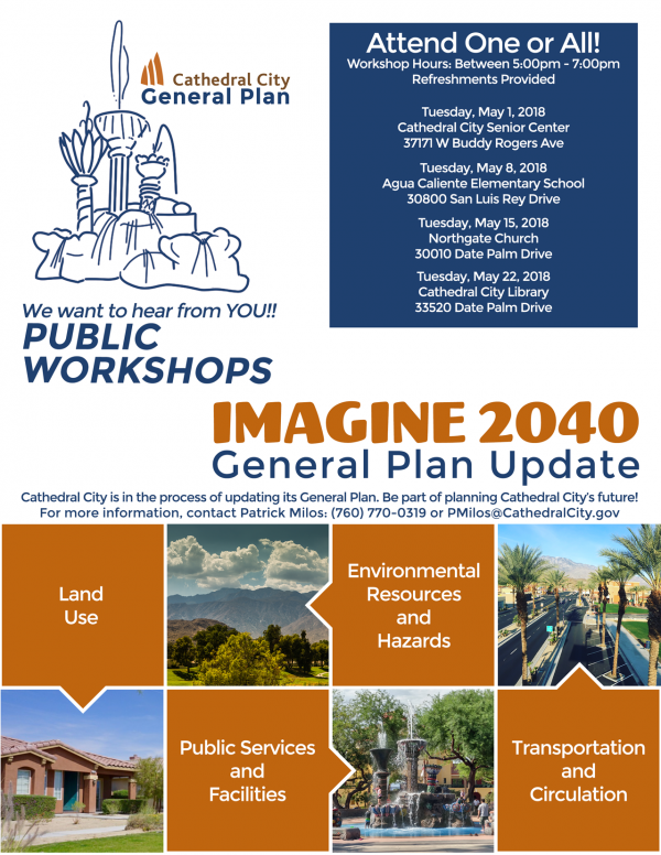 Imagine 2040 – Cathedral City's General Plan – Public Workshop