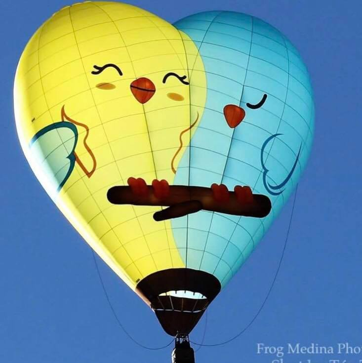 "Morning Balloon Glow featuring the ""Love Birds"" balloon to kick-off the Cathedral City Hot Air Balloon Festival & Food Truck Mash-Up, November 16-18, 2018"