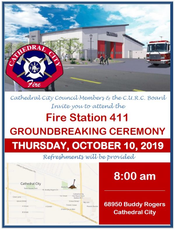 Groundbreaking Ceremony for Cathedral City's New Downtown Fire Station 411 Happens on October 10th