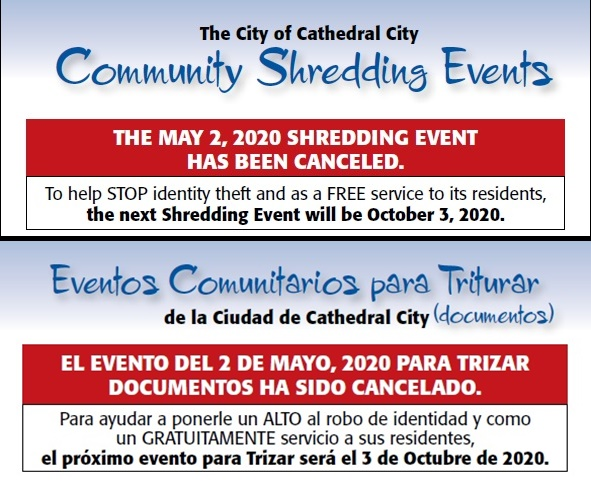 Shred Event for May 2nd Canceled Due to the COVID-19 Pandemic